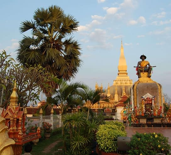 Statue of the Sethathirath King at Pha That Luang in Vientiane Laos