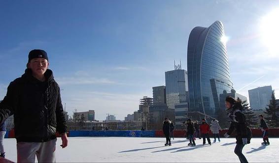 Ice skating Sukhbaatar Square