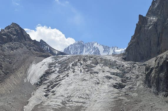 Ak Sai Glacier seen from the basin.