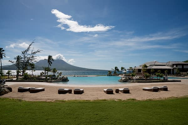 Park Hyatt St Kitts Luxury Hotel, Lagoon Pool, View of Nevis Island