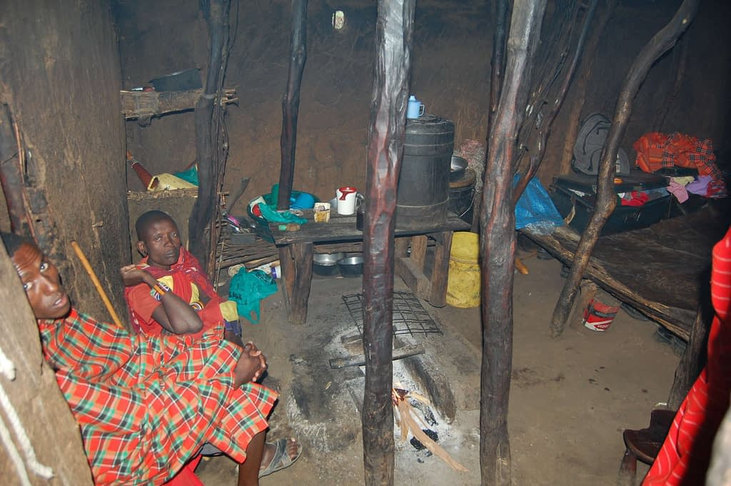 Traditional house interior Maasai People