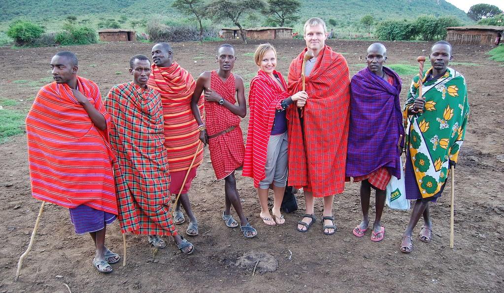 Photo of us wearing Maasai clothing