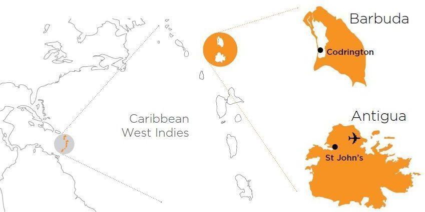Antigua & Barbuda area map